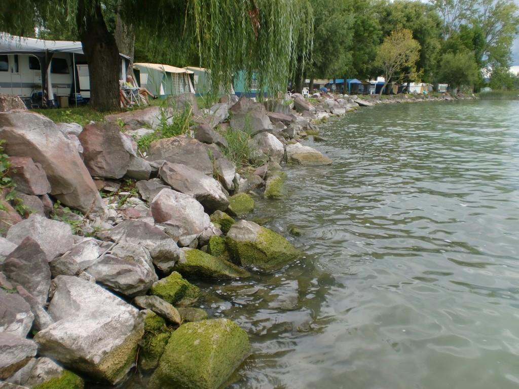 Pole w Balatonszepezd - namioty i kampery nad samą wodą.