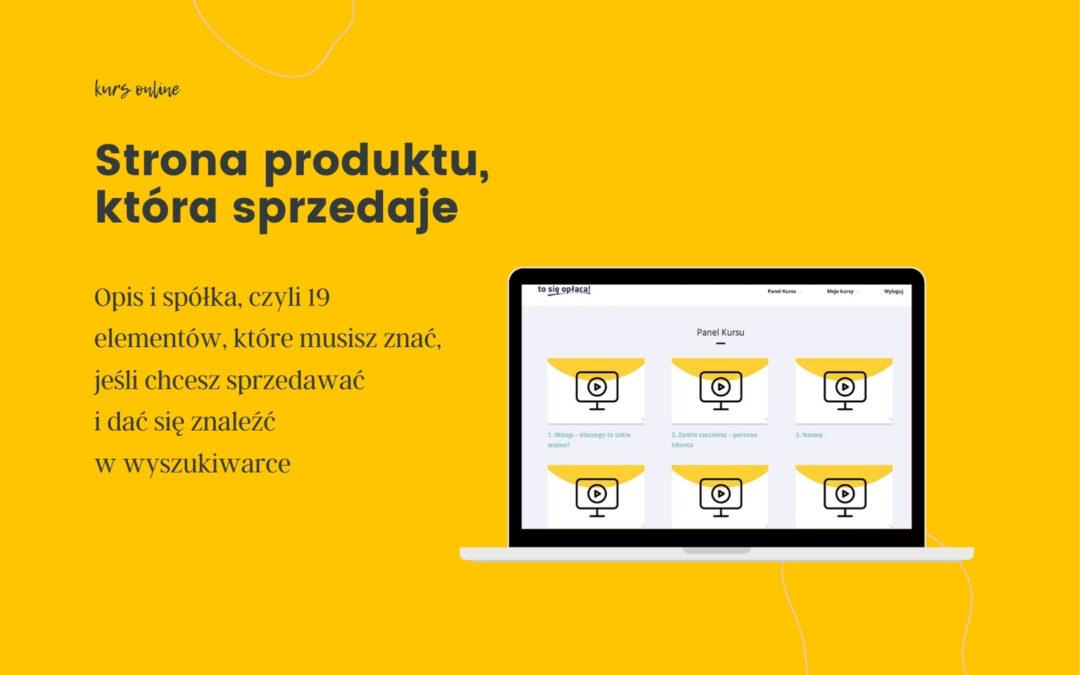 Rusza II edycja kursu Strona produktu, która sprzedaje